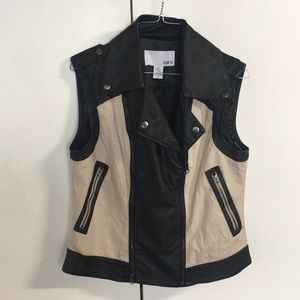 Linen and leather vest